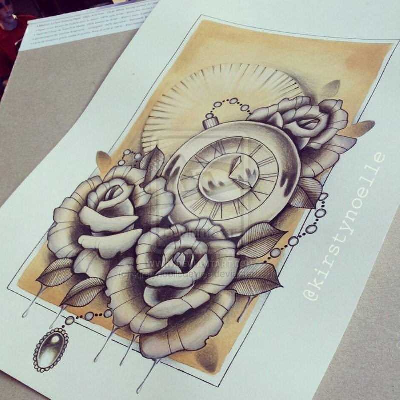 800x800 Pocket Watch And Rose Drawing Art Pocket Watch