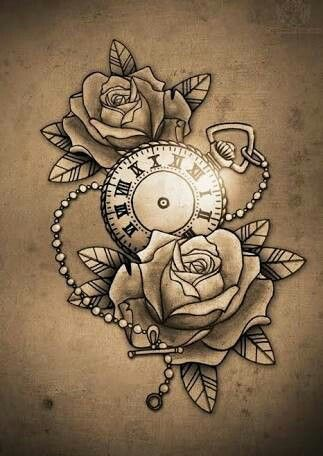 323x456 Pocket Watch And Rose Tattoo Tat Ideas Rose