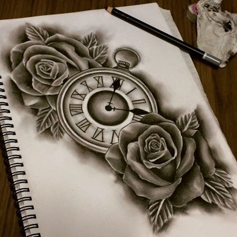 480x480 Roman Clock With Roses By Poizonink