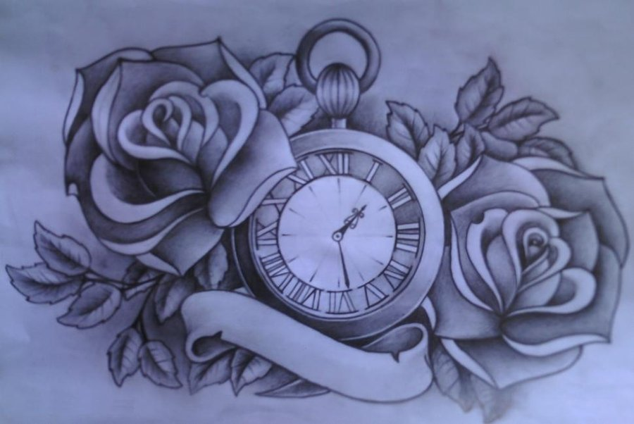 900x602 Watch With Roses Tattoo Design