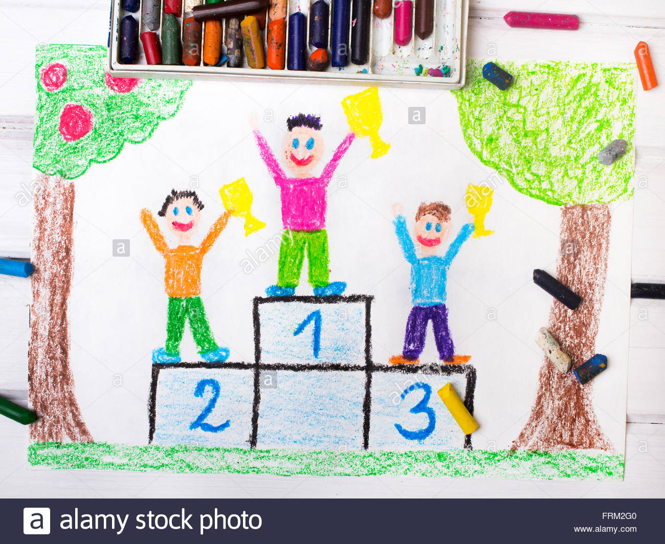 1300x1064 Colorful Drawing Happy Children Standing On The Winner Podium