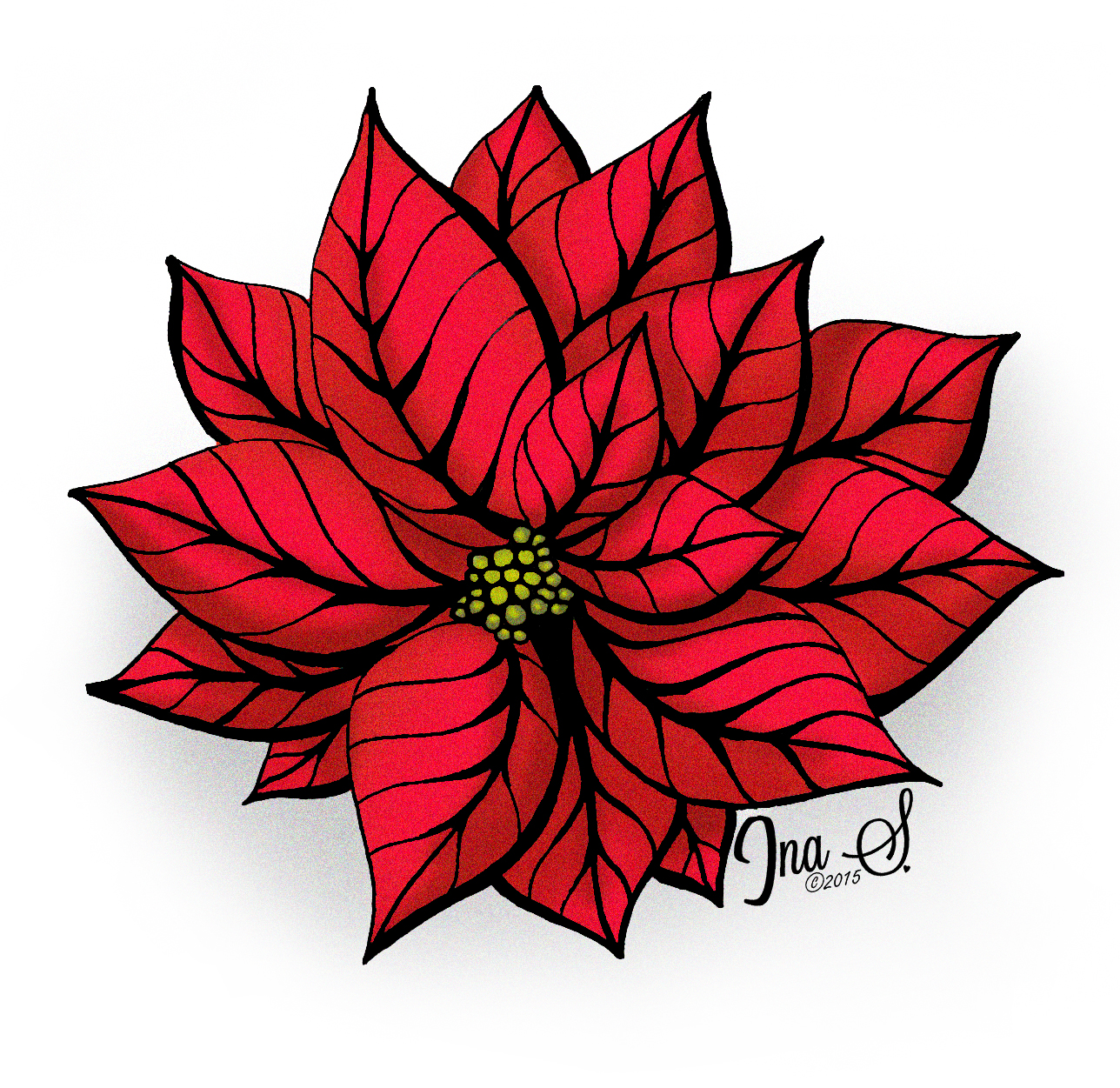 Poinsettia Flower Drawing at GetDrawings.com | Free for personal use ...