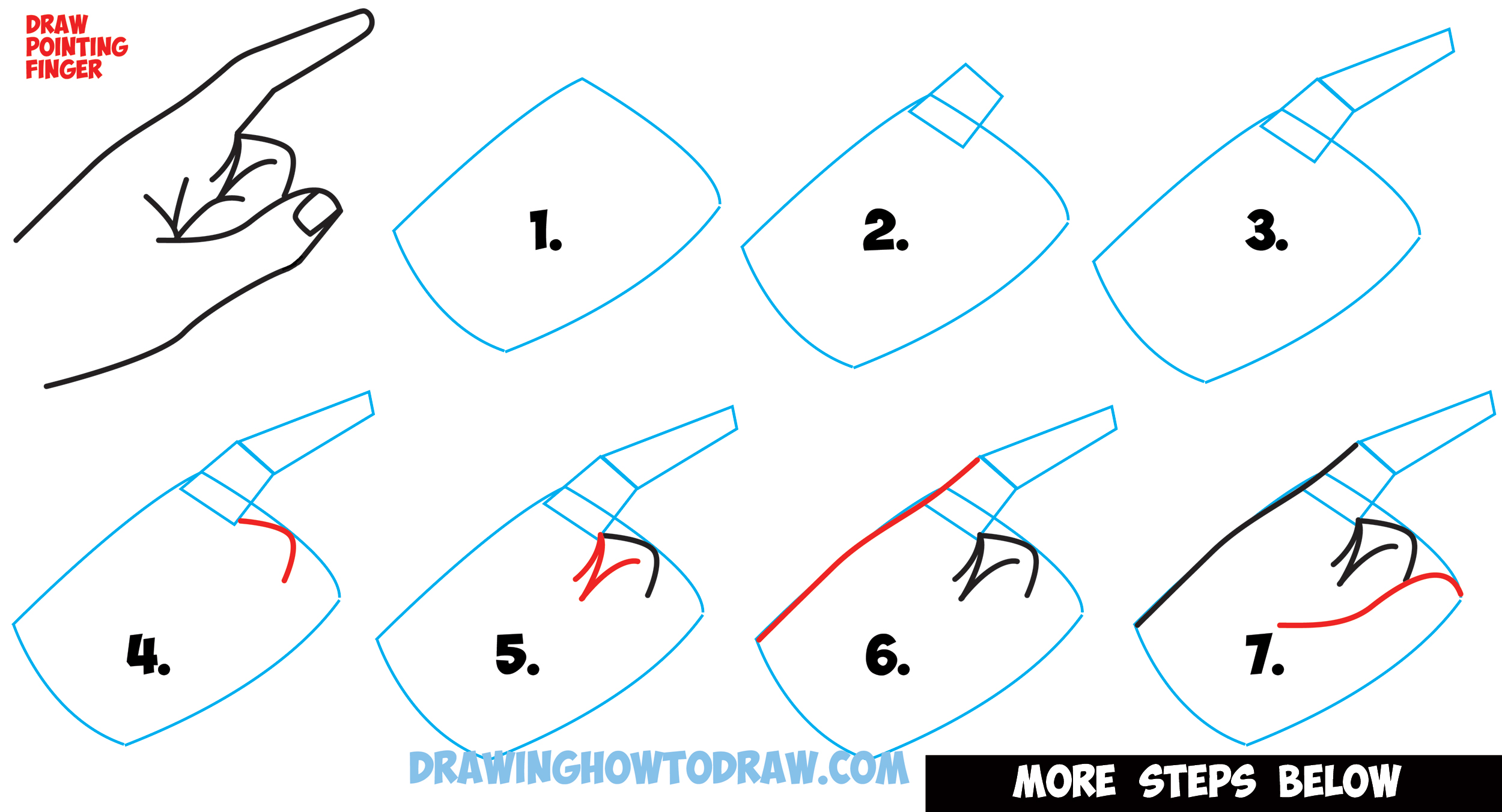 2500x1352 How To Draw A Pointing Hand Side View How To Draw Cartoon