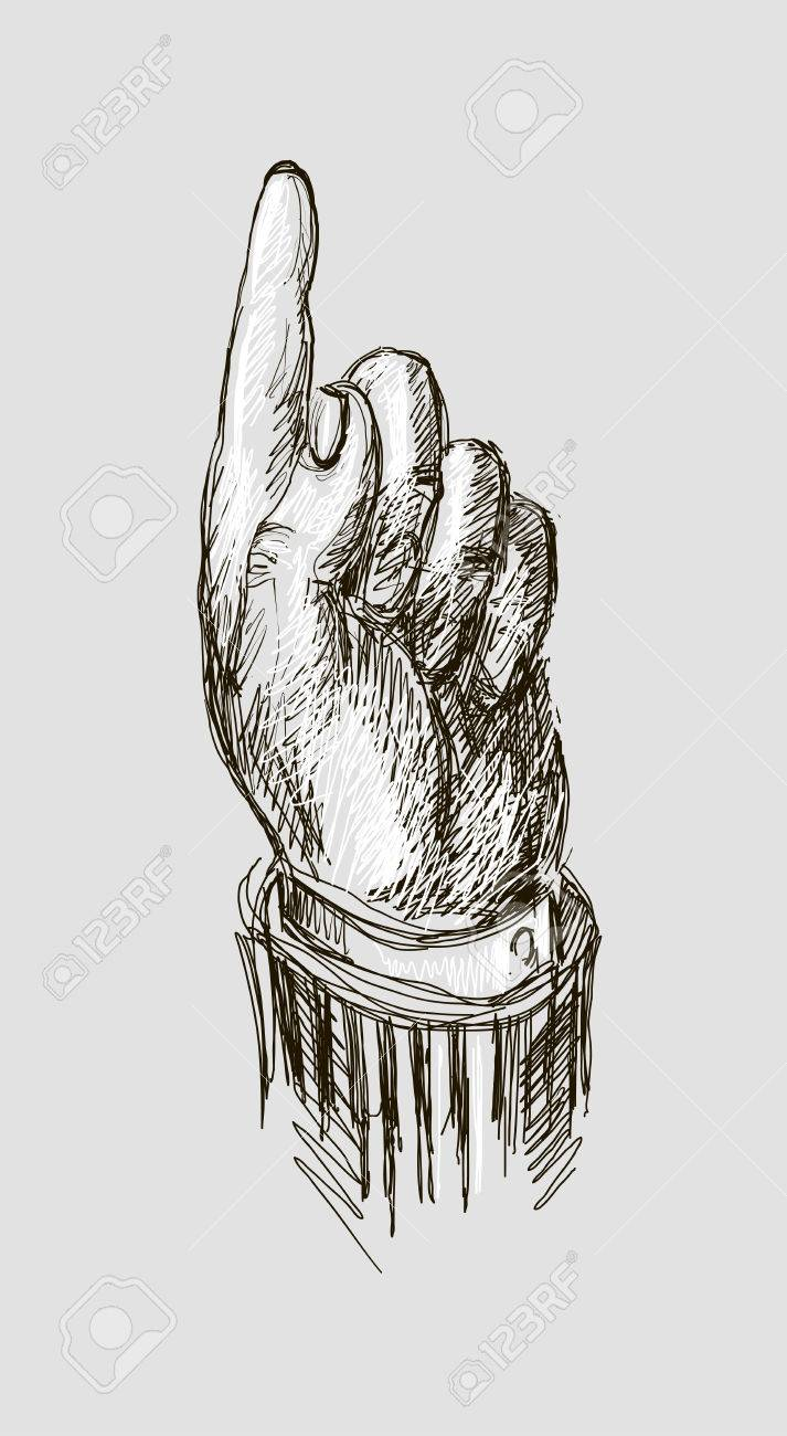 713x1300 Vector Drawing Hand With Index Finger Pointing Up. Royalty Free