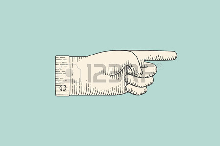 450x300 Vintage Drawing Of Hand Sign With Pointing Finger In Engraving