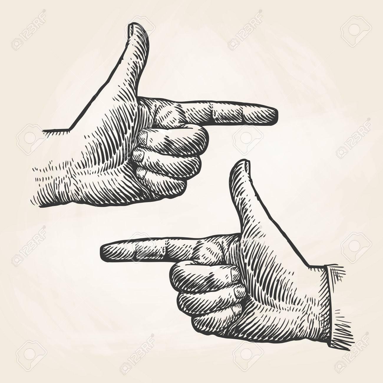 1300x1300 Vintage Pointing Hand Drawing. Forefinger, Index Finger Sketch