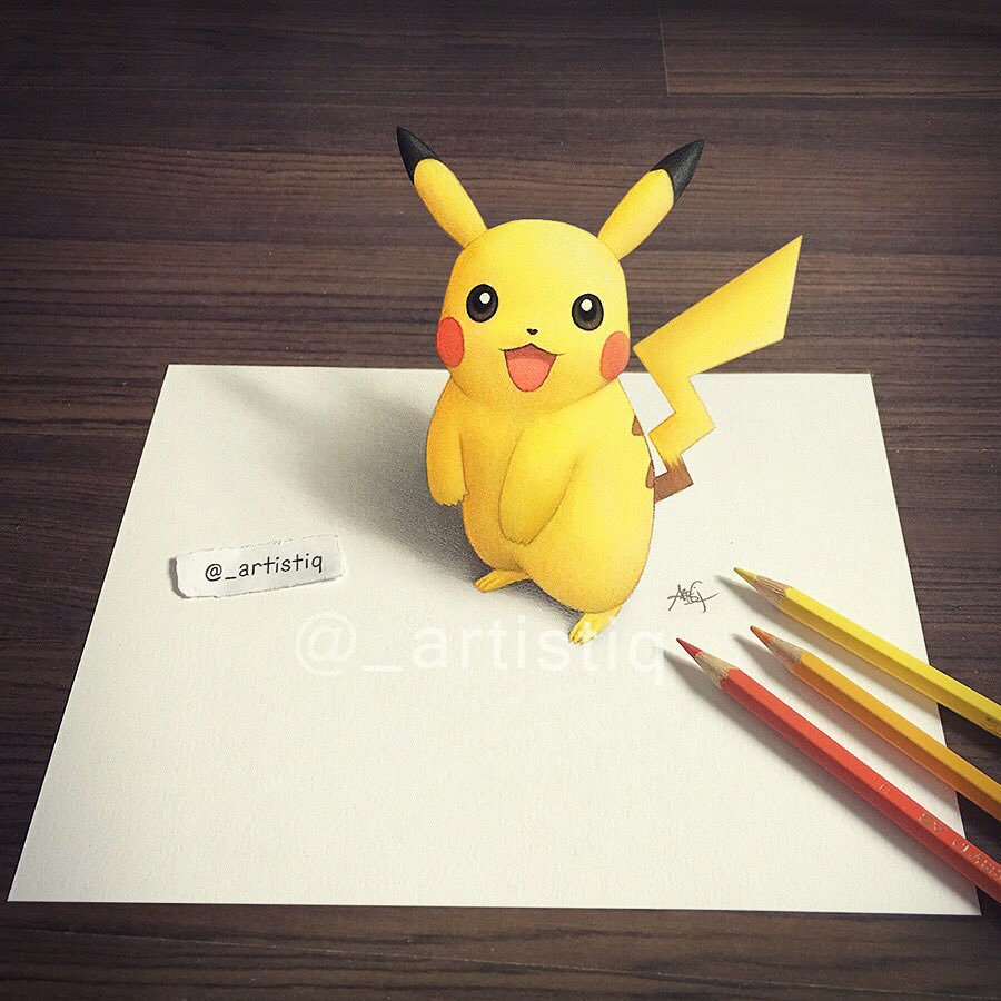 Pokemon 3d drawing at getdrawings free for personal use 900x900 artistiq on twitter my 3d drawing of pikachu hope you guys thecheapjerseys Image collections