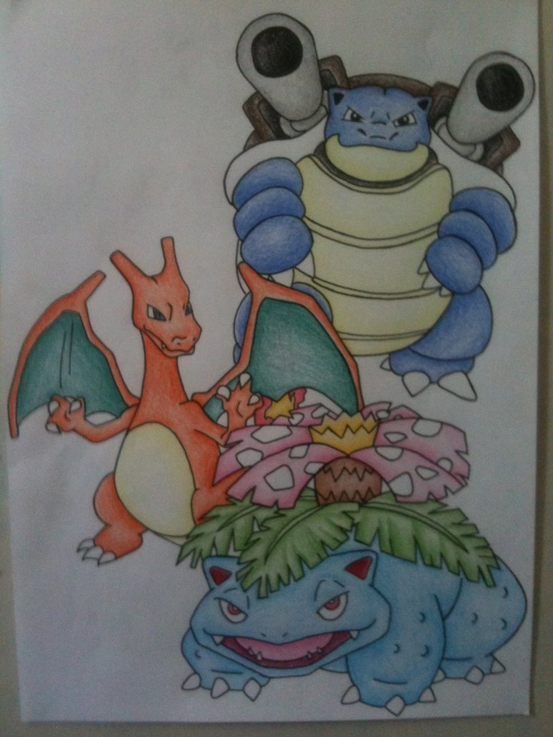 774x1032 Pokemon Venusaur, Charizard And Blastoise By Sazmullium
