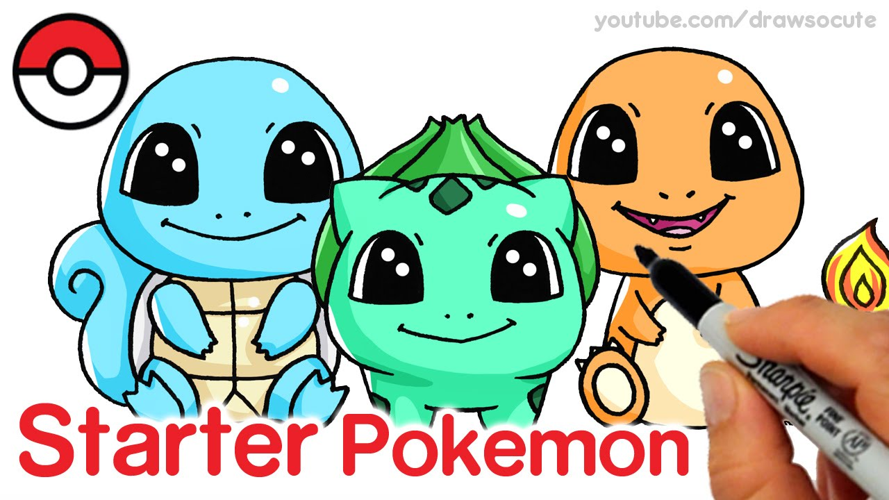 1280x720 How To Draw Squirtle, Bulbasaur And Charmander Step By Step Cute