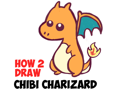 500x381 How To Draw A Cute Baby Chibi Charizard From Pokemon In Easy Steps