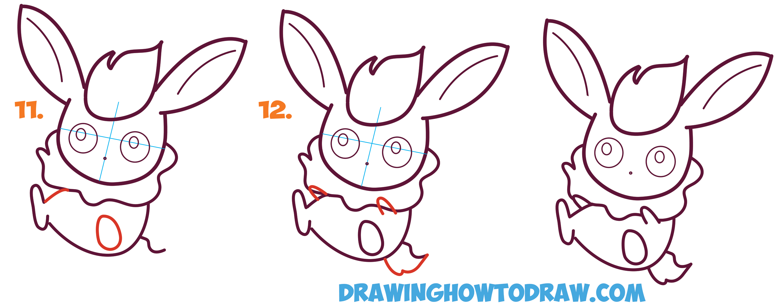 2500x982 How to Draw Flareon in Cute Kawaii Chibi Baby Style from