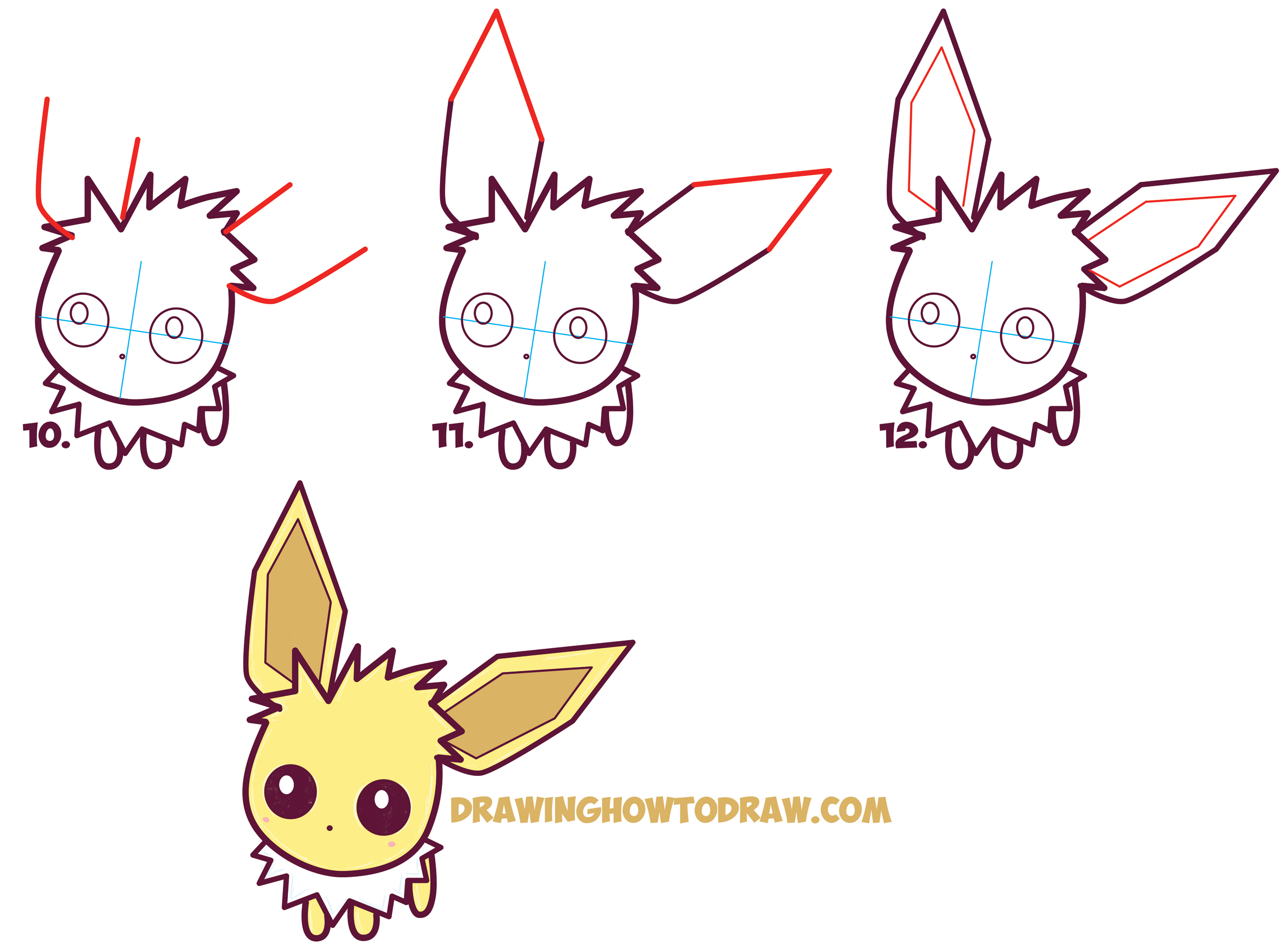 2500x1849 How To Draw Cute Kawaii Chibi Jolteon From Pokemon Easy Step
