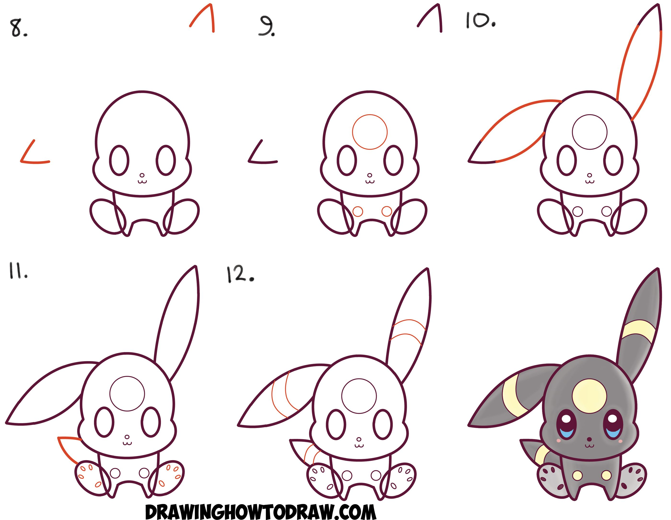 2800x2170 How To Draw Cute Kawaii Chibi Umbreon From Pokemon Easy Step By