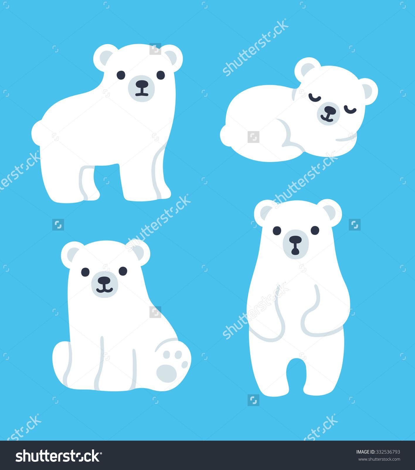 1416x1600 Cute Cartoon Polar Bear Cubs Collection. Simple, Modern Style