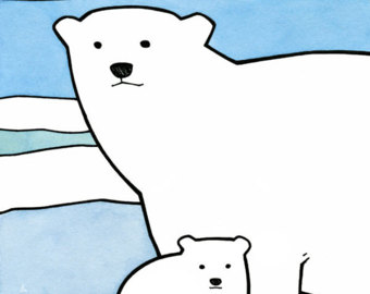 340x270 Polar Bear Drawing Etsy