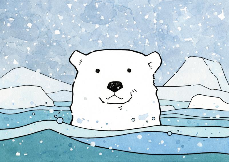 800x568 Polar Bear Watercolor Illustration, Winter Holiday Card Bear