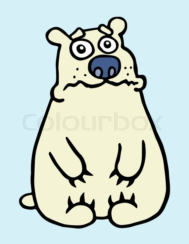 622x800 Cartoon Sad Polar Bear. Vector Illustration. Digital Drawing