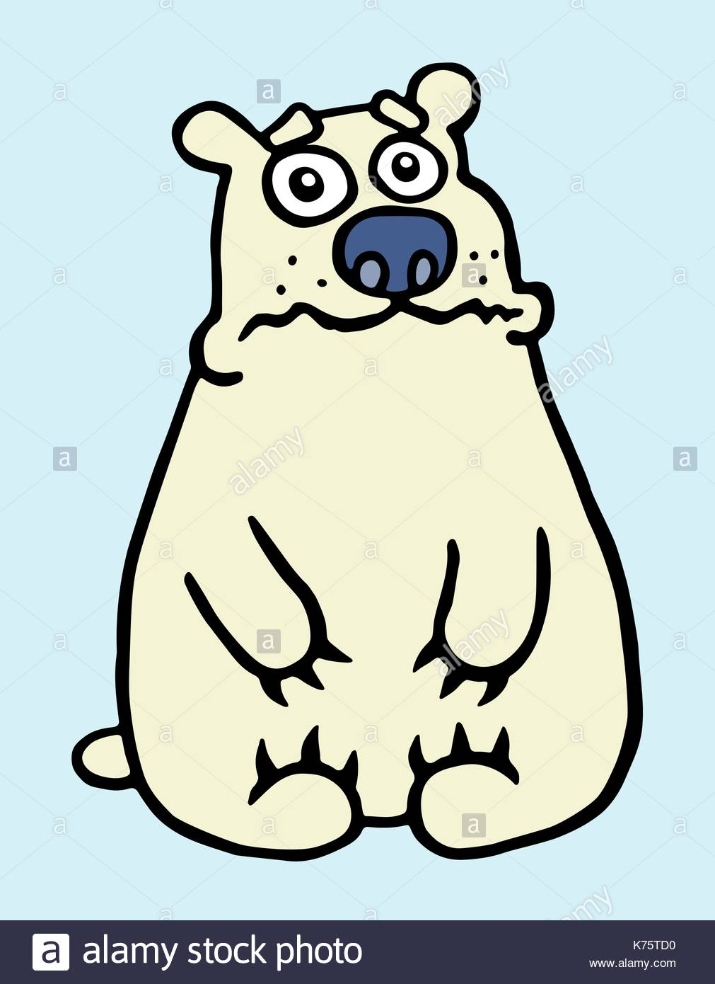 1011x1390 Cartoon Sad Polar Bear. Vector Illustration. Digital Drawing Stock