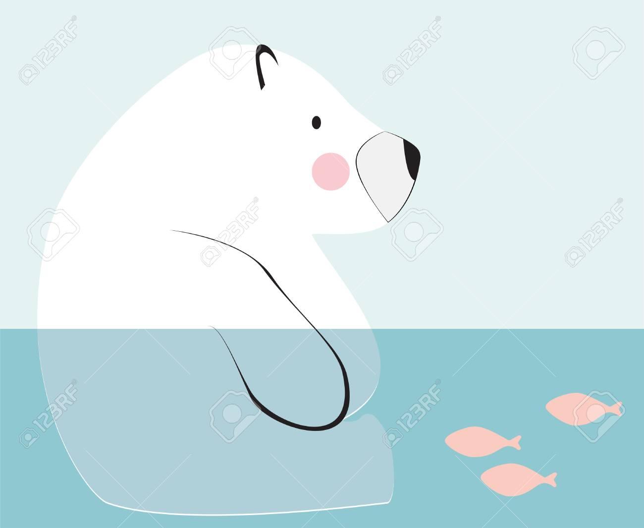 1300x1066 Cute Polar Bear Sitting Down On The Water. Children Drawings