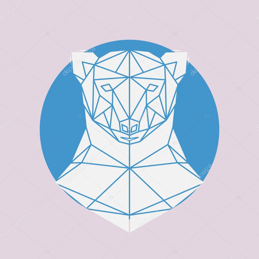 1024x1024 Polar Bear Head Geometric Lines Silhouette Stock Vector