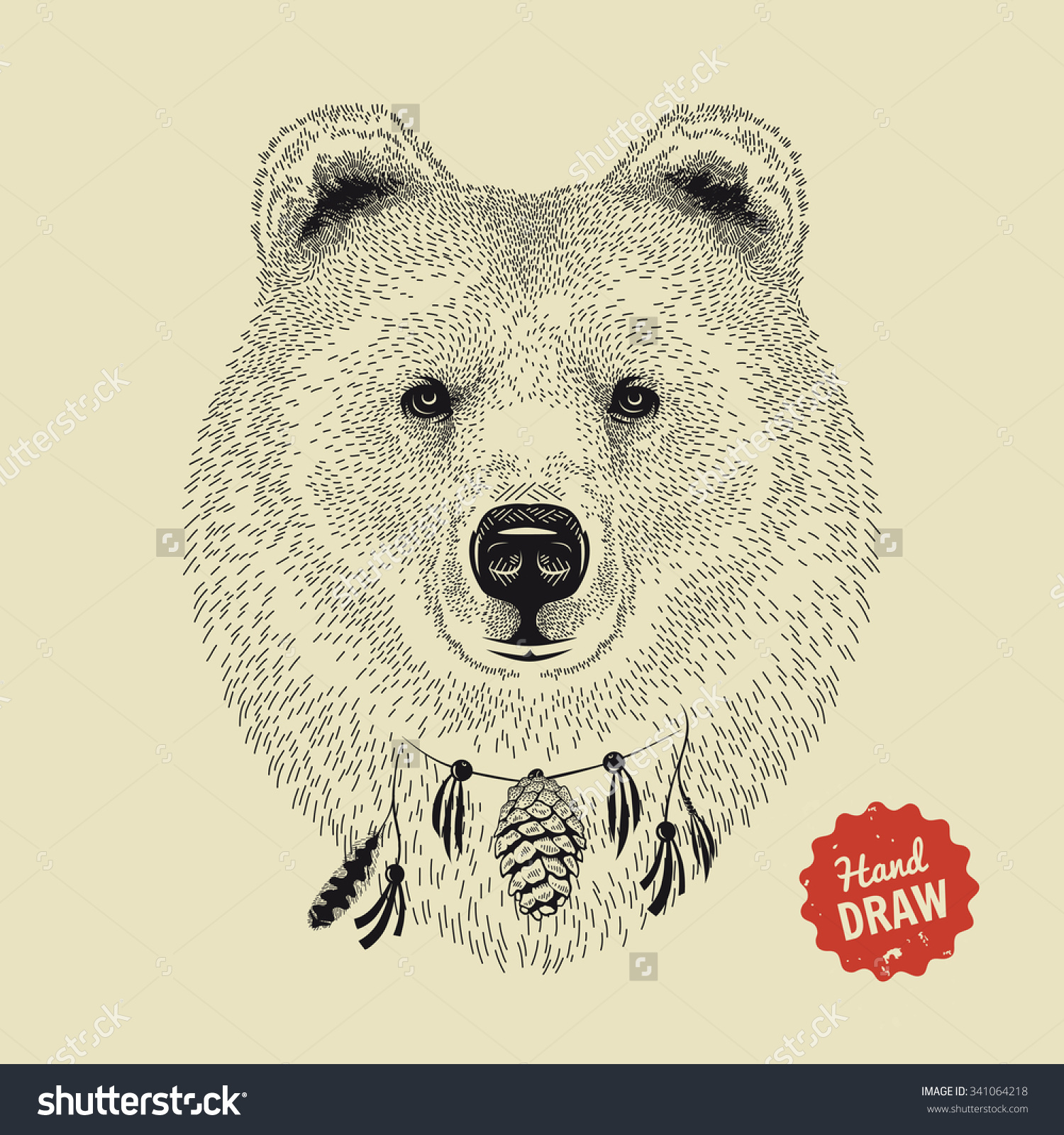 1500x1600 Vector Sketch Of A Bear's Face. Bear Head, Front View. Hand Drawn