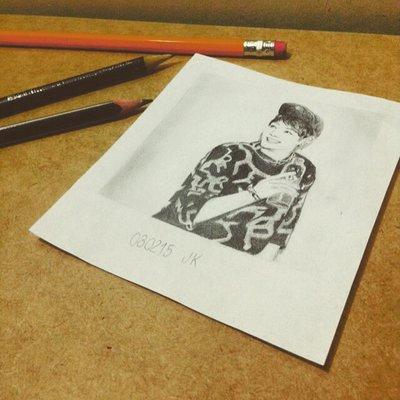 400x400 Jungkook Polaroid Drawing By Maracujade
