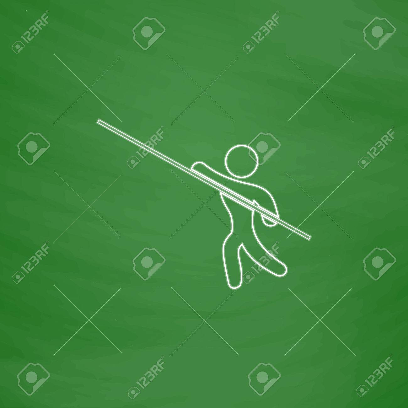 1300x1300 Pole Vault Outline Vector Icon. Imitation Draw With White Chalk