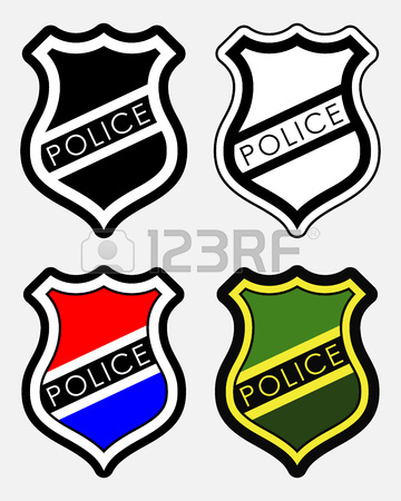 360x450 Police Badge. Realistic Vector Golden Police Badge Placed