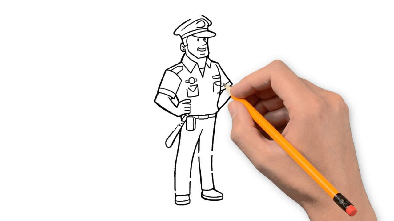 1280x720 Police Pencil Things To Draw Step By Step