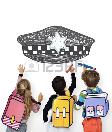382x450 Children With A Drawing Of Police Hat Stock Photo, Picture