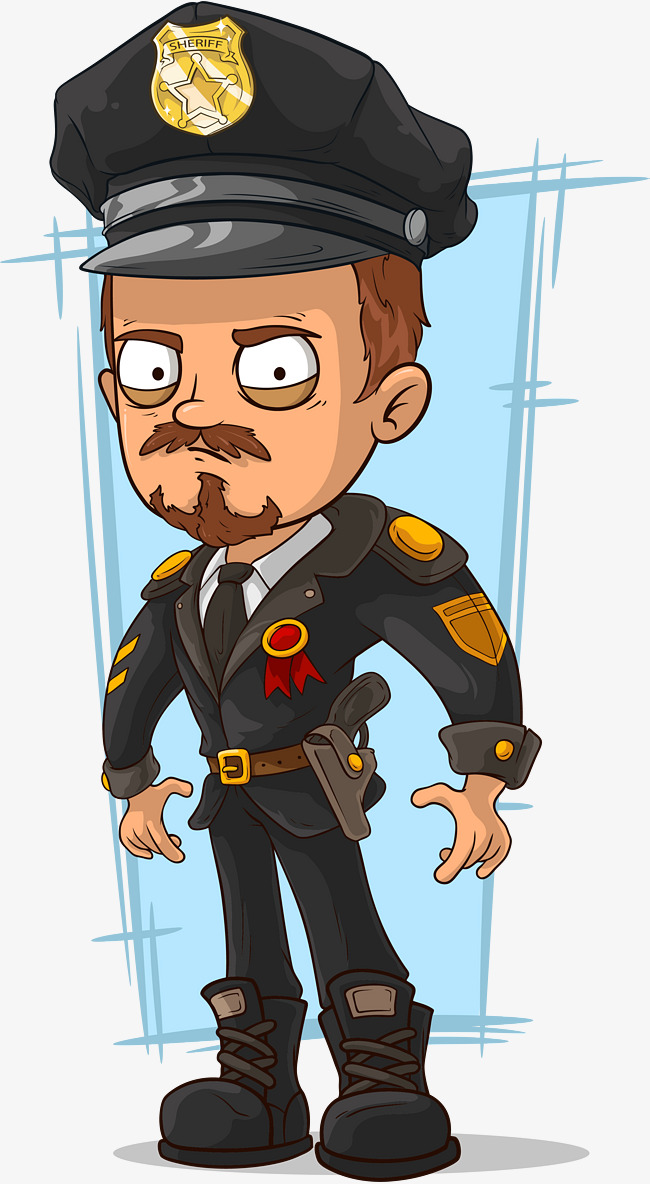 650x1184 Hand Painted Police Officer, Cartoon Hand Drawing, Police Officer