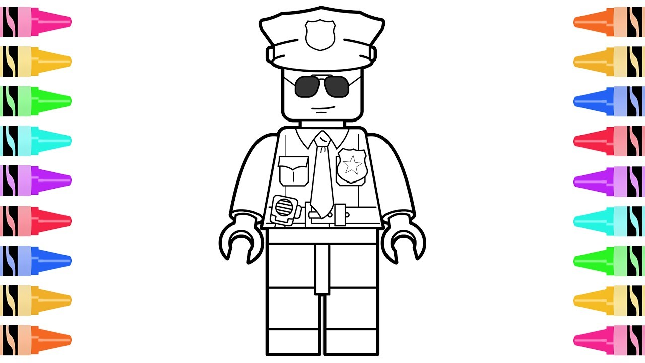1280x720 How To Draw Lego Police Officer Kids Learn Colors
