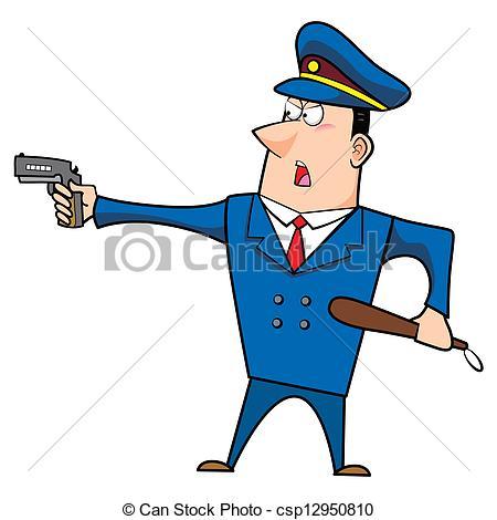 450x470 Male Cartoon Police Officer Standing With A Gun Vector Clip Art
