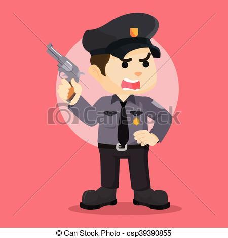 450x470 Police Officer Holding Gun Clipart Vector