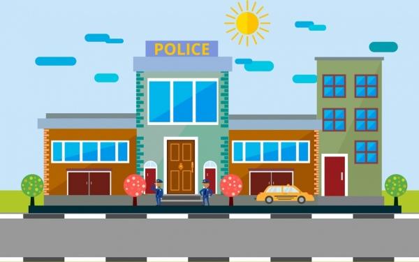 600x375 Police Station Facade Design Colored Cartoon Decor Free Vector