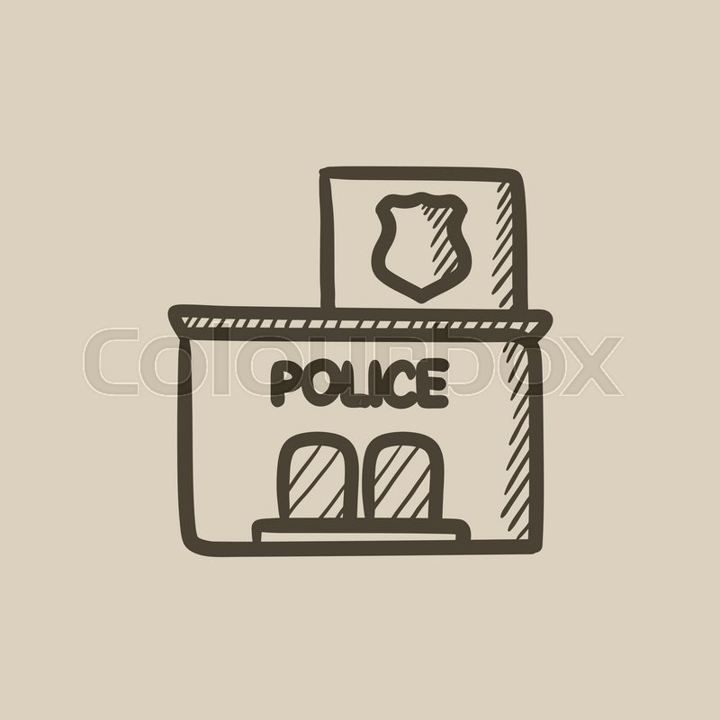 800x800 Police Station Vector Sketch Icon Isolated On Background. Hand
