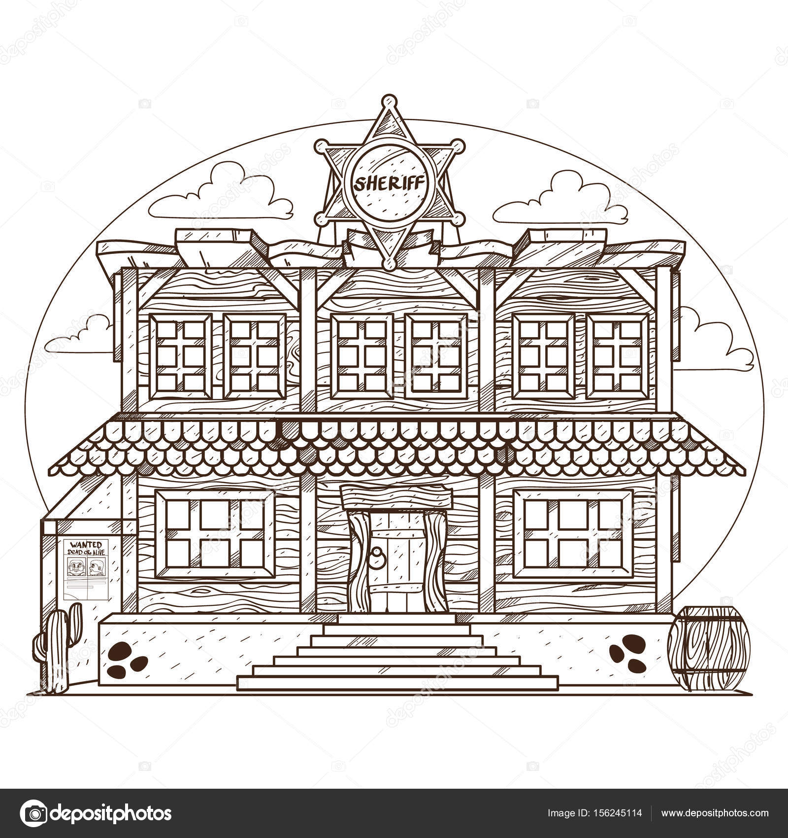 1600x1700 Wild West Outline Drawing For Coloring. Police Station. Sheriff