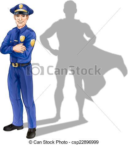 417x470 Policeman Hero. Hero Policeman Concept, Illustration Of A Eps