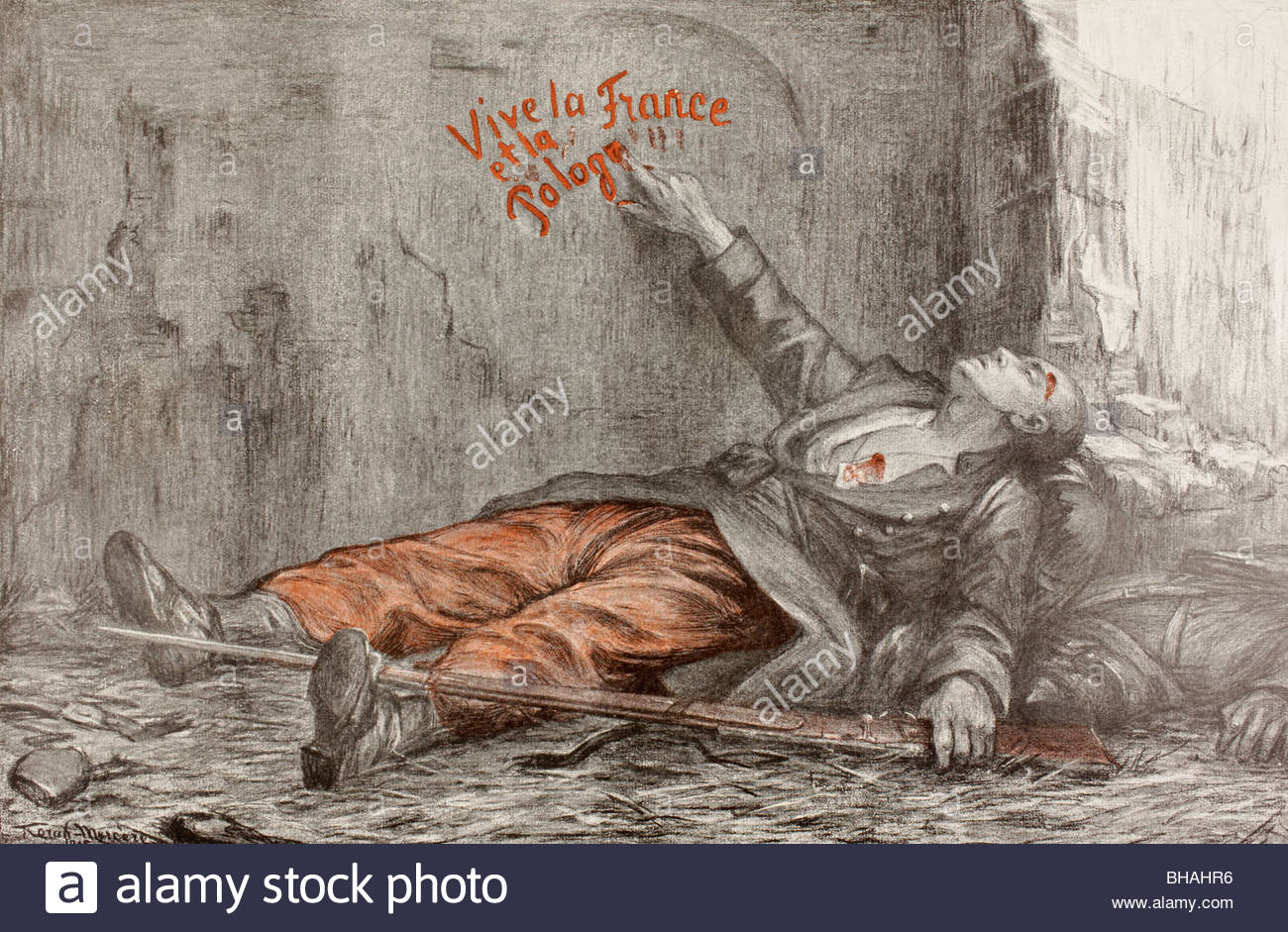 1300x941 The Death Of A Polish Volunteer. Propaganda Drawing Issued During