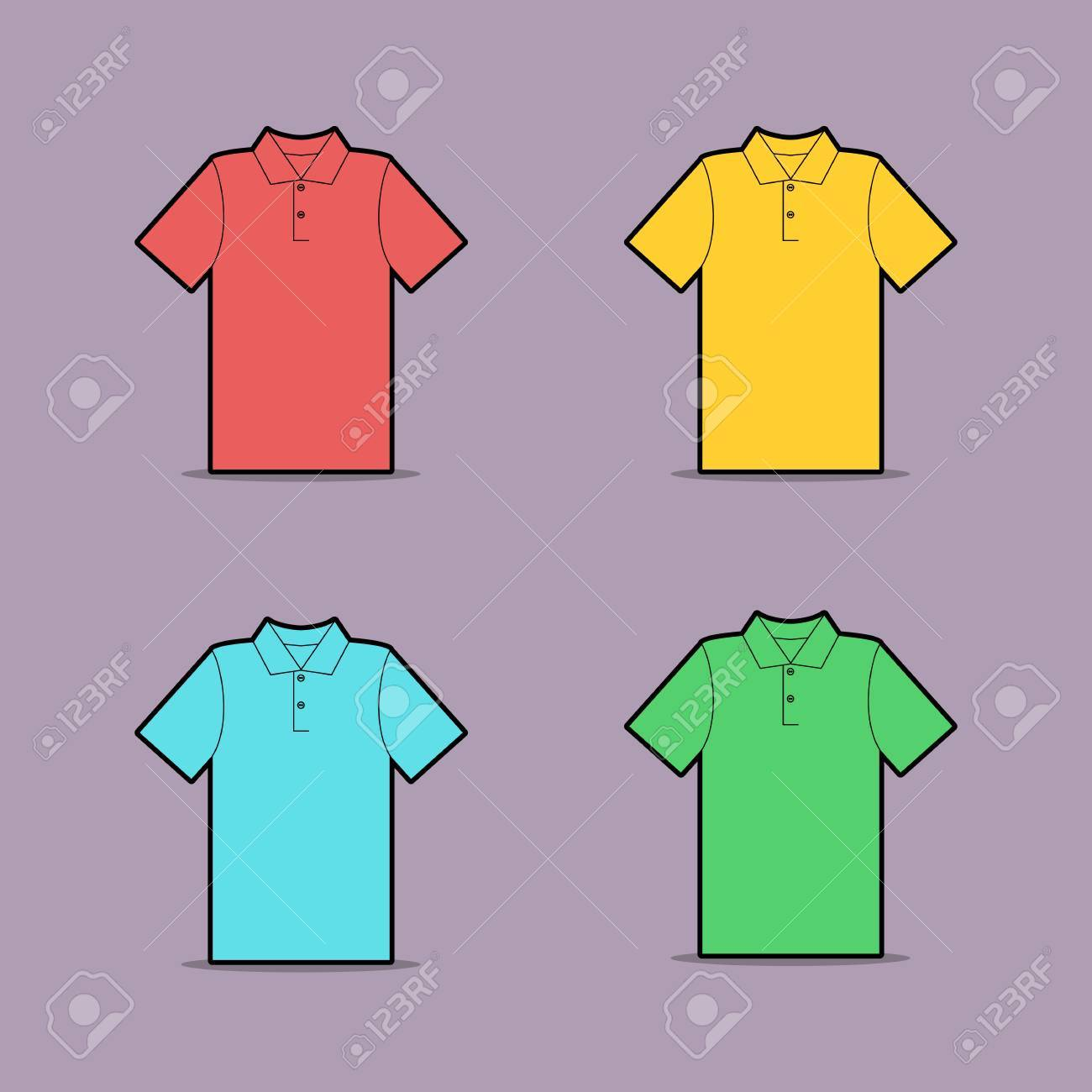 1300x1300 Vector Drawing Of Multicolored Polo Shirt Royalty Free Cliparts