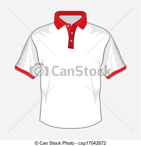 450x468 White Polo Shirt Design With Red Collar Vectors Illustration