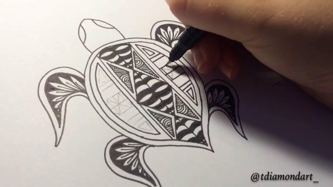 1280x720 Drawing Polynesian Turtle