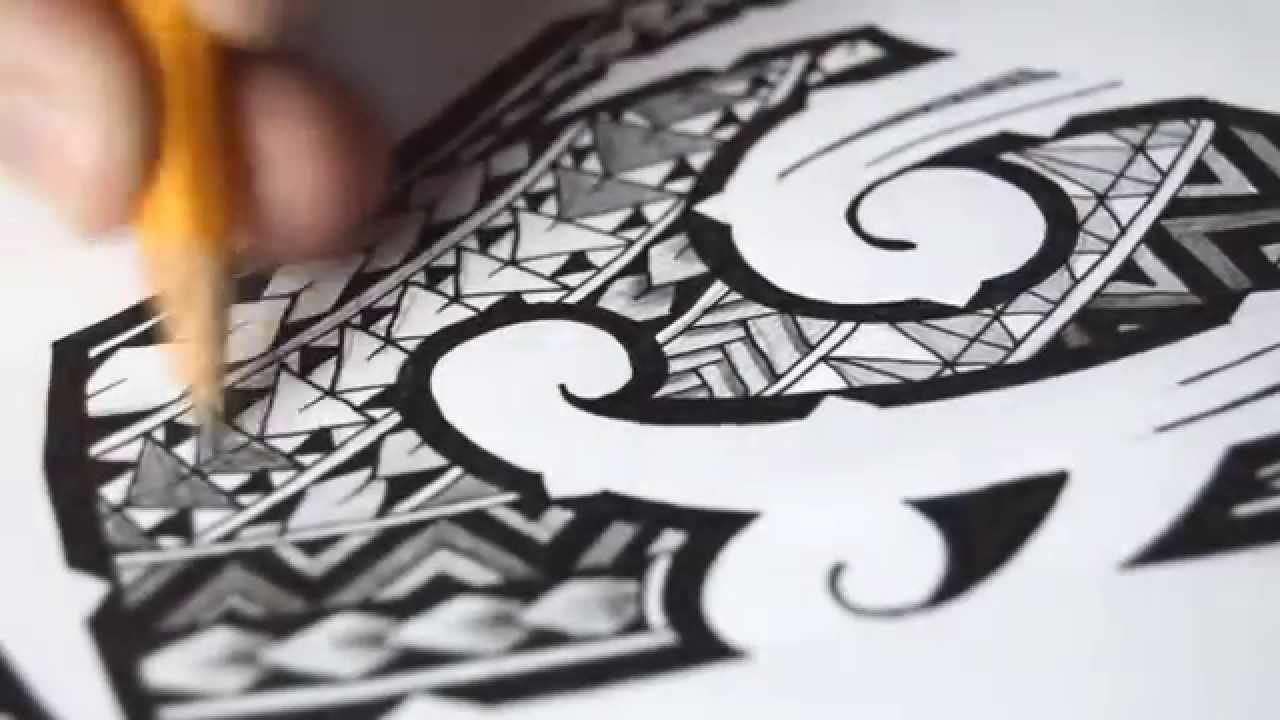 1280x720 Polynesian Tribal Tattoo Speed Drawing