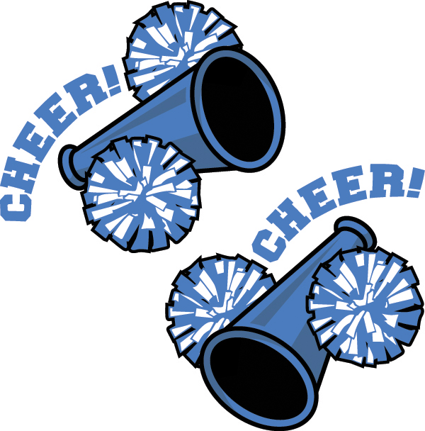 600x608 Blue And Gold Cheerleading Pom Poms Clipart