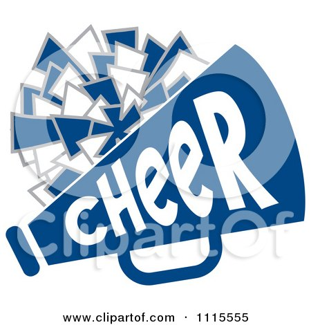 450x470 Clipart Cheerleader Pom Pom And Megaphone In Blue Tones