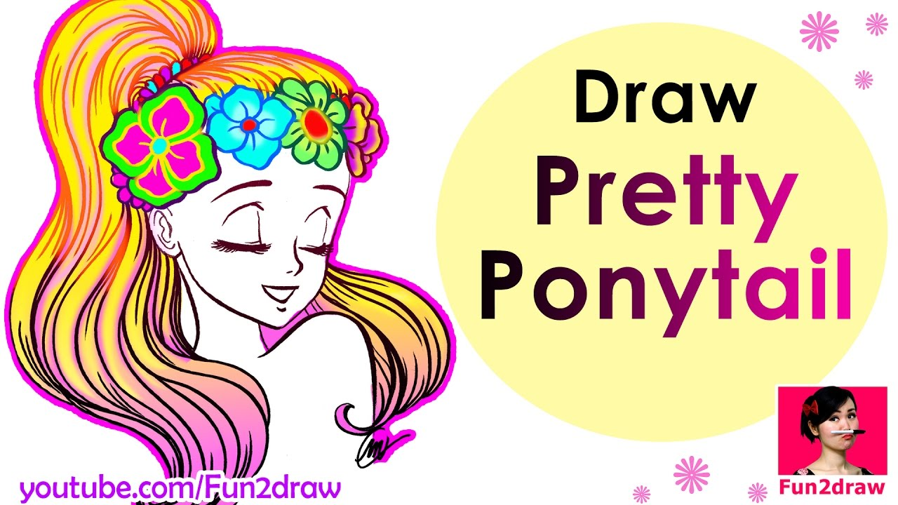 1280x720 How To Draw A Pretty Ponytail (Super Easy!) Draw Easy Hair