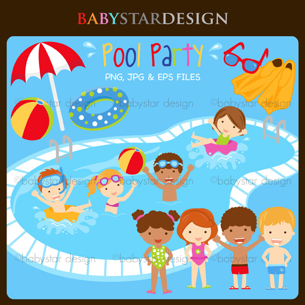 600x600 Pool Party Clipart Set With 15 Graphics Cute For Stickers T