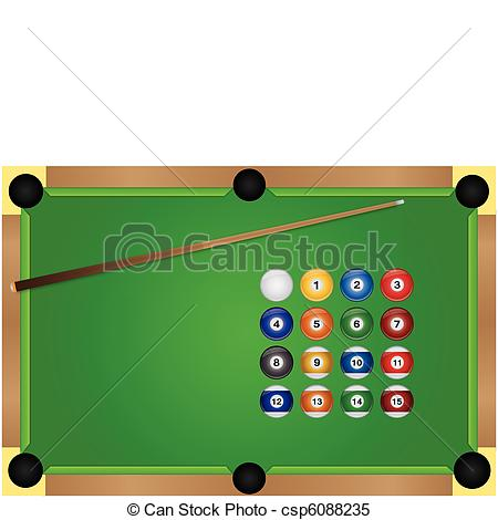 450x470 Image Of A Pool Table And Billiard Balls. Clipart Vector