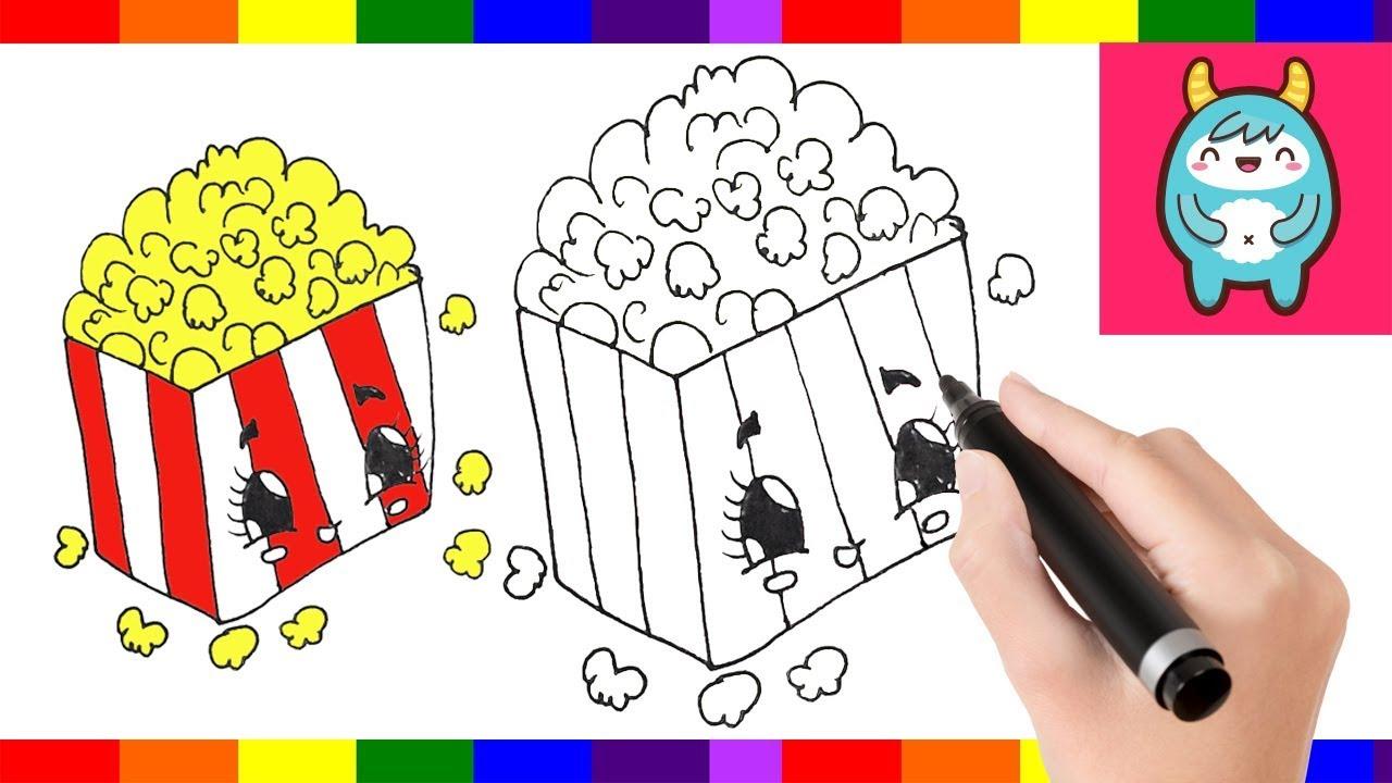 1280x720 Art Drawing Tutorial How To Draw Cartoon Popcorn Box Easy Step