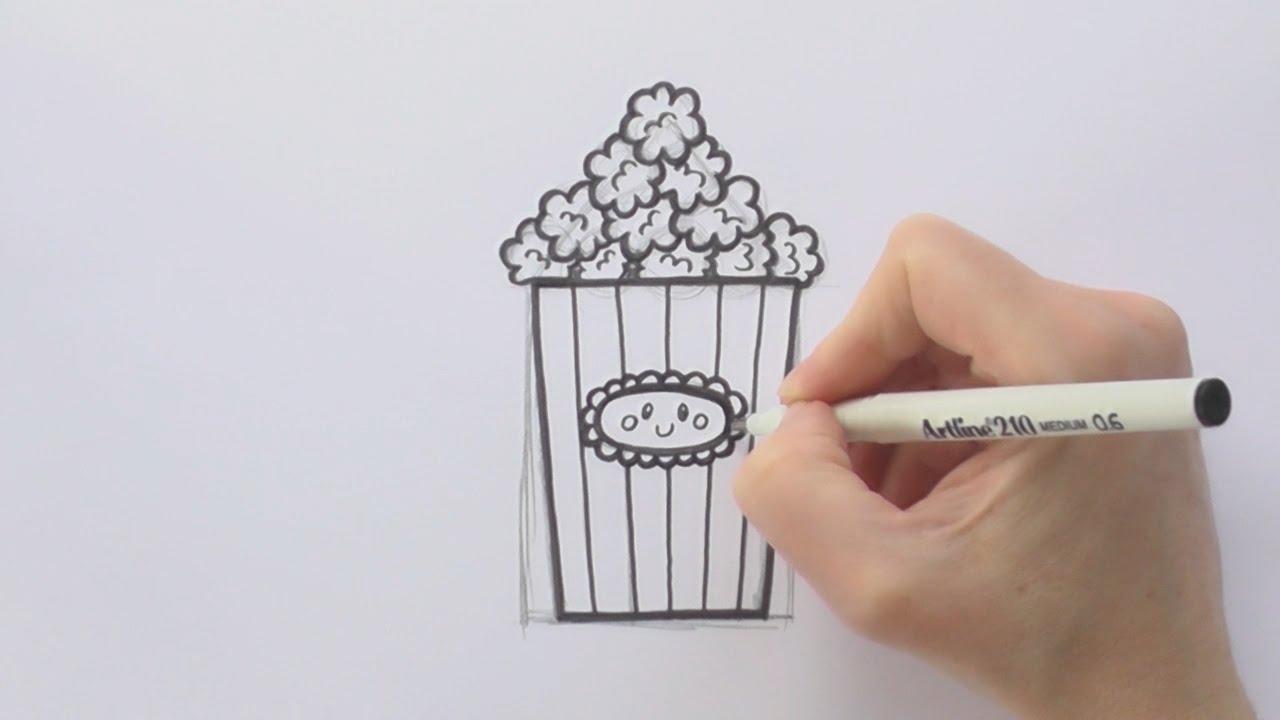 1280x720 How To Draw A Cartoon Box Of Popcorn